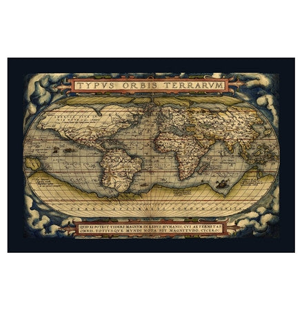 1570 antique world map by Ortelius