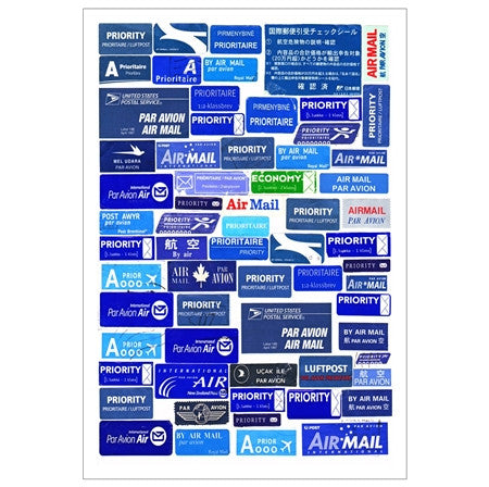 Air Mail Sticker Labels postcard