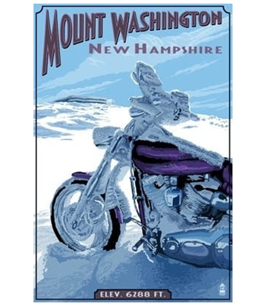 Mt Washington, NH Motorcycle in Snow Lantern Press Postcard
