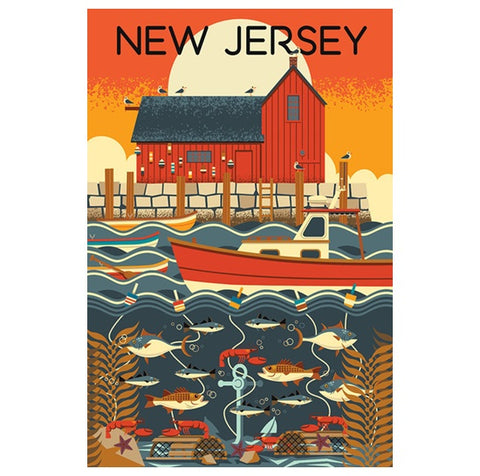 New Jersey Geometric Lantern Press Postcard