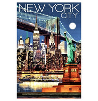 New York City NYC nightview Lantern Press Postcard