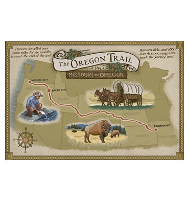 Oregon Trail Map Lantern Press Postcard