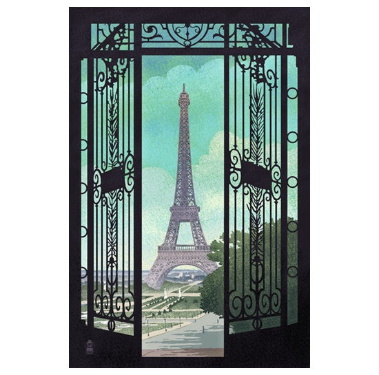 Eiffel Tower through Decorative Black Iron Gate Lantern Press Postcard