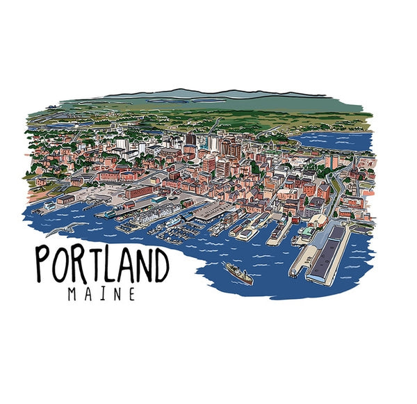 City Line Drawing Portland, ME Lantern Press Postcard