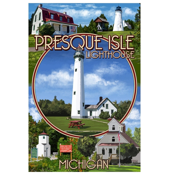 Presque Isle Lighthouse Lantern Press Postcard