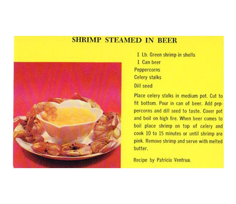 Vintage Steamed Shrimp in Beer Recipe Postcard