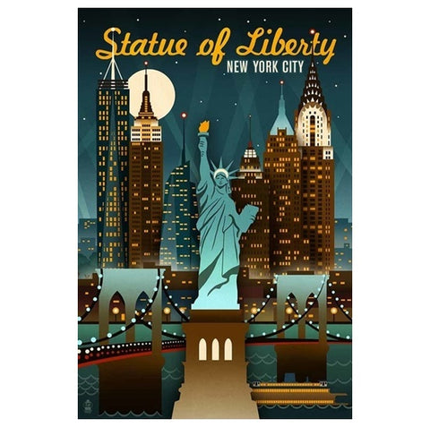 Retro Skyline New York Lantern Press postcard