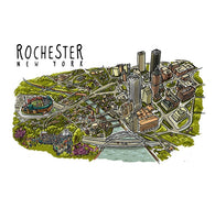 City Line Drawing Rochester, NY Lantern Press Postcard