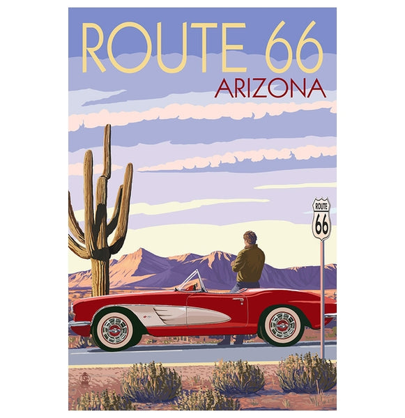 Route 66 Corvette Lantern Press Postcard