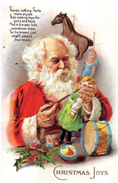 Christmas Joys Santa making Toys vintage reproduction Postcard