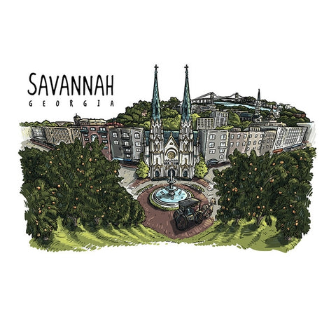 City Line Drawing Savannah, GA Lantern Press Postcard