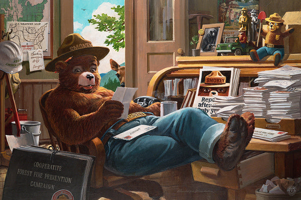 Smokey Bear Reading Mail at Desk Lantern Press Postcard