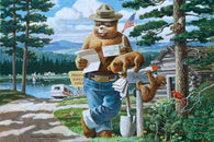 Smokey Bear Reading Mail at Mailbox Lantern Press Postcard