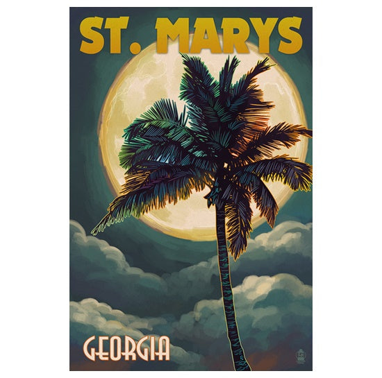 Full Moon and Palm Tree at St. Marys GA Lantern Press Postcard