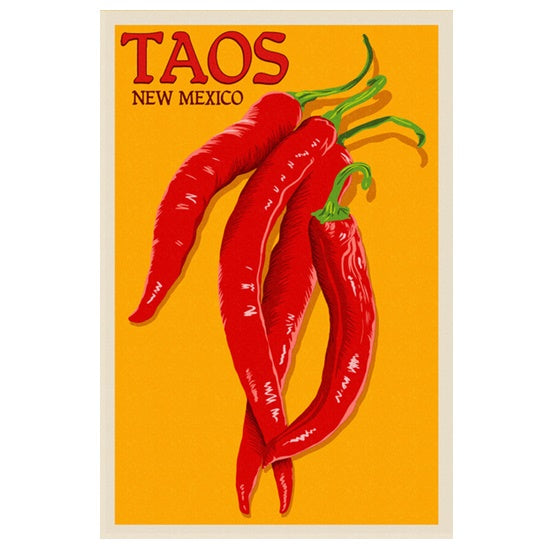 Silkscreen Taos Chili Peppers Lantern Press postcard