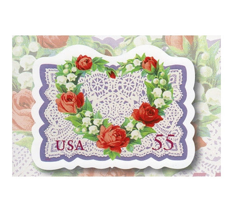 55¢ LOVE Heart Doily (2 oz) - 1999  - USPS Postage Stamp Postcard
