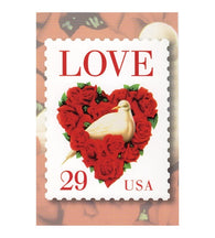 29¢ LOVE Red Rose Heart with White Dove - 1994 - USPS Postage Stamp Postcard