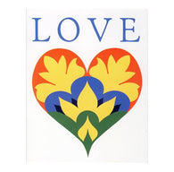 LOVE Folkart Heart with 20¢ pre-paid postage - USPS Postage Stamp Postcard