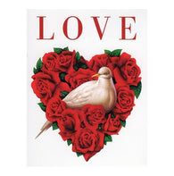 LOVE Red Rose Heart with White Dove with 20¢ pre-paid postage - USPS Postage Stamp Postcard