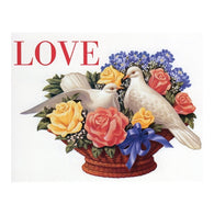 LOVE Bouquet with White Doves with 20¢ pre-paid postage - USPS Postage Stamp Postcard