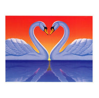 LOVE Swans and Sunset with 20¢ pre-paid postage - USPS Postage Stamp Postcard