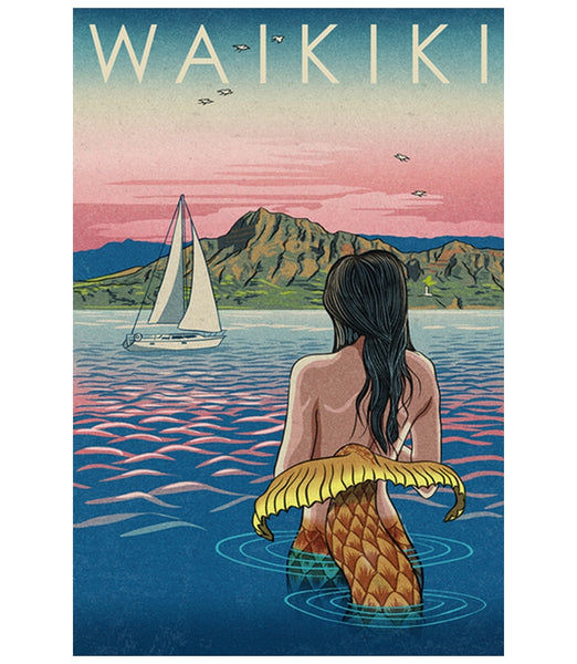 Waikiki Hawaii Mermaid Woodblock Print  Lantern Press Postcard