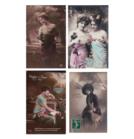 4 antique postcards French Women, Parisian Ladies, Happy New Years, Deer Postcards