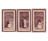 Set of 3 antique ROMANCE postcards with embossed wood frame