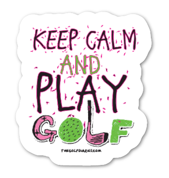 Keep Calm and Play Golf sticker in Pink - Small