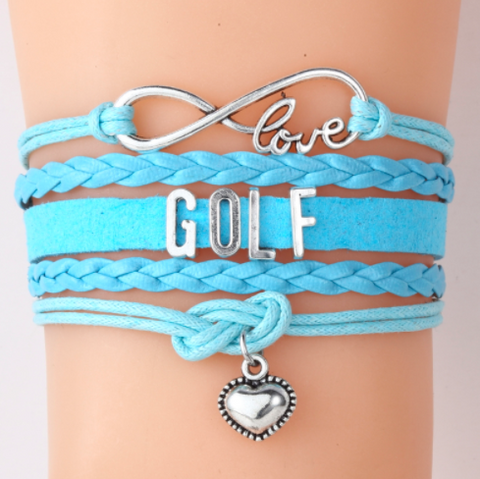 Blue Love Golf Bracelet Handmade Leather Cord Bracelets  With Heart Charm