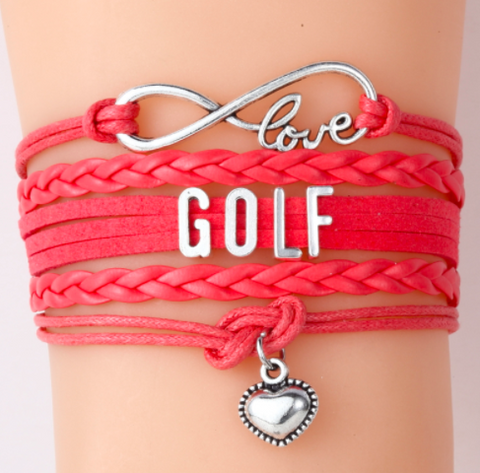 Orange Love Golf Bracelet Handmade Leather Cord Bracelets  With Heart Charm