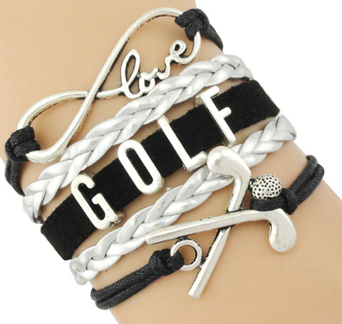 Infinity Golf Love Bracelet in Black & Silver