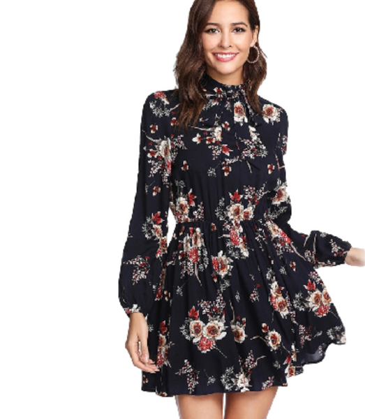 Cinched Waist Floral Dress - InsideMyLuggage