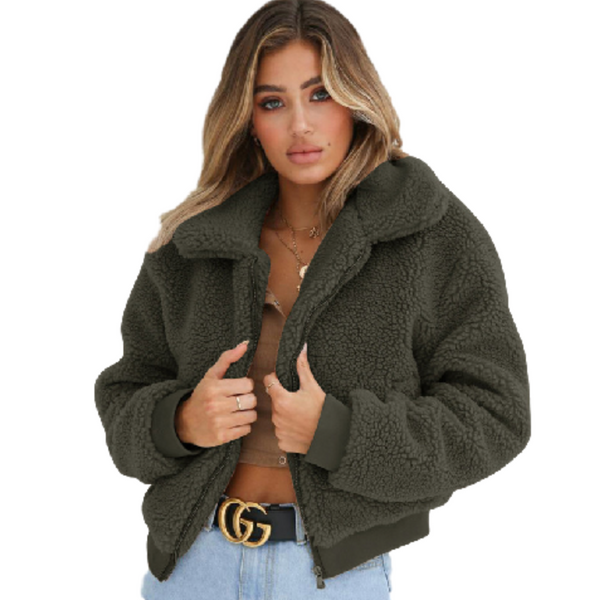 Loose Fit Zip-Up Sherpa Fleece Jacket - InsideMyLuggage