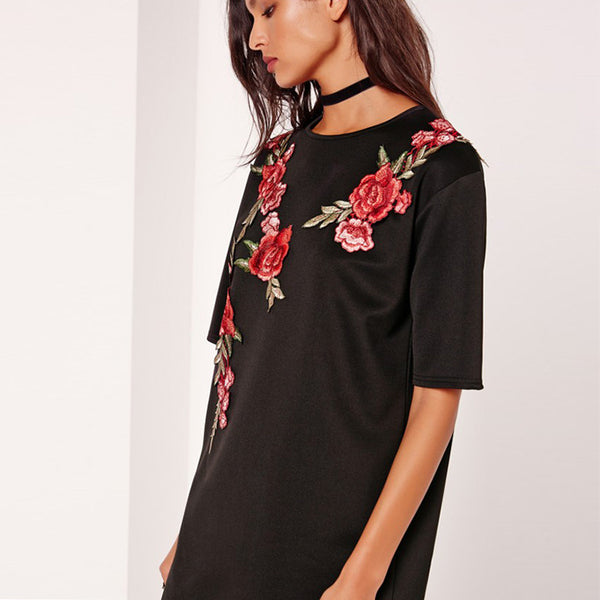 Rose Vine Embroidery Black T-Shirt Dress