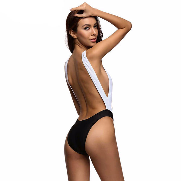 Pamela Backless One Piece - Black White Mix - InsideMyLuggage