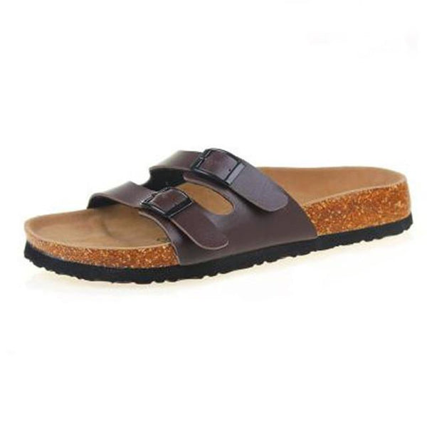Summer Cork Slip-On Sandals Brown - InsideMyLuggage