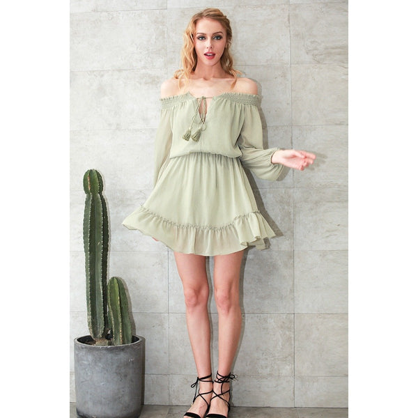 Pouffe Off Shoulder Chiffon Dress - InsideMyLuggage