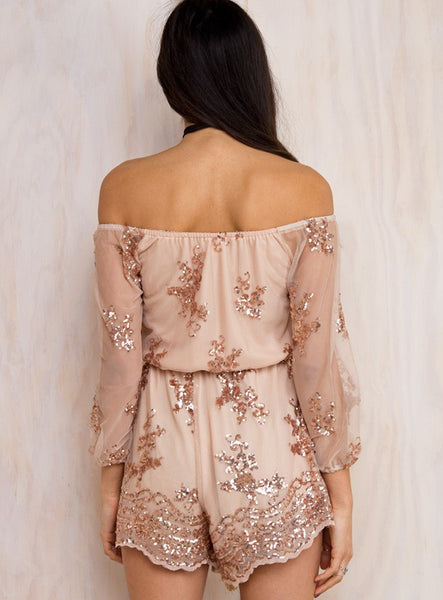 Boho Slash Neck Long Sleeve Romper - InsideMyLuggage