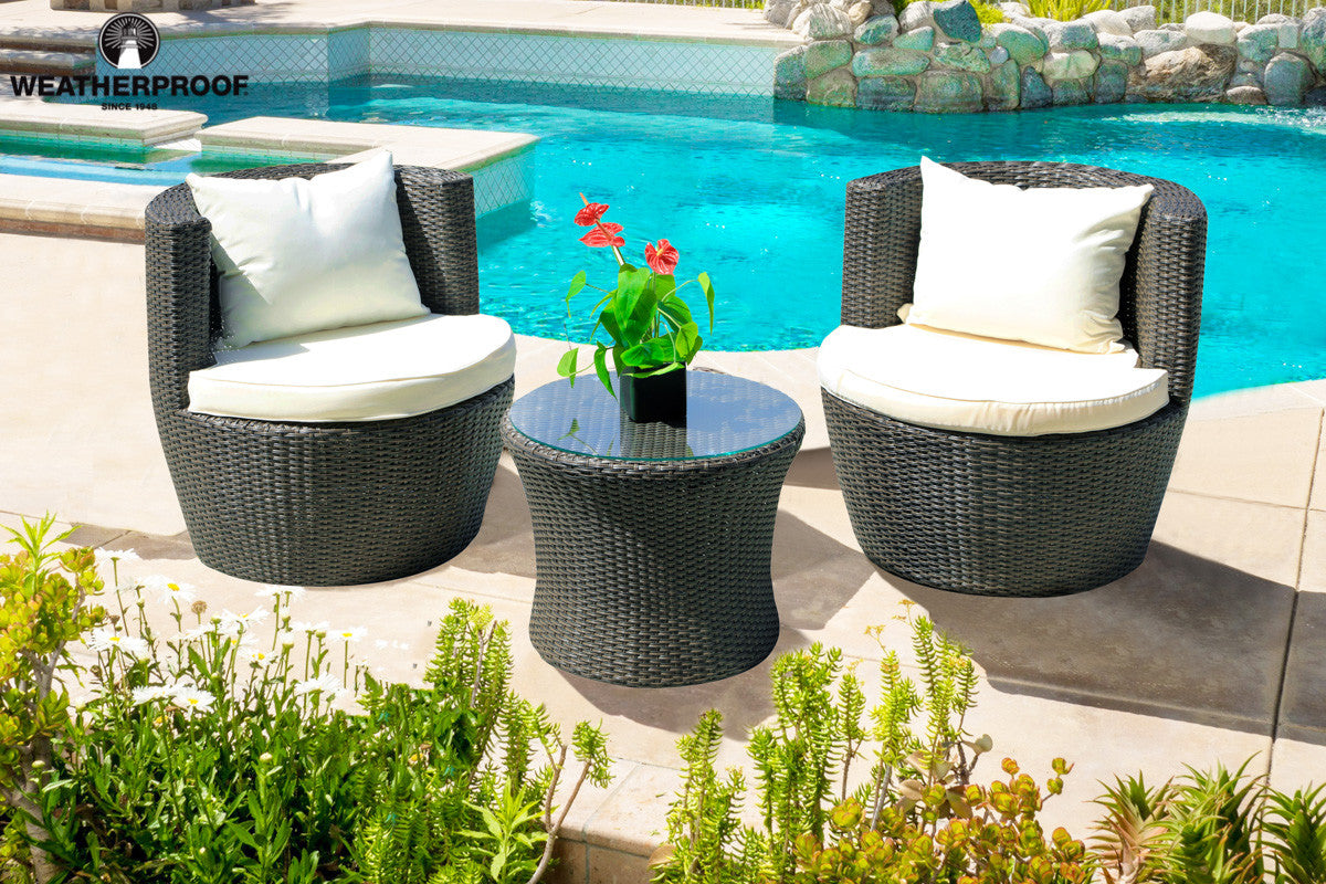 Weatherproof 3 Piece Outdoor Furniture Patio Set (No Assembly Required)