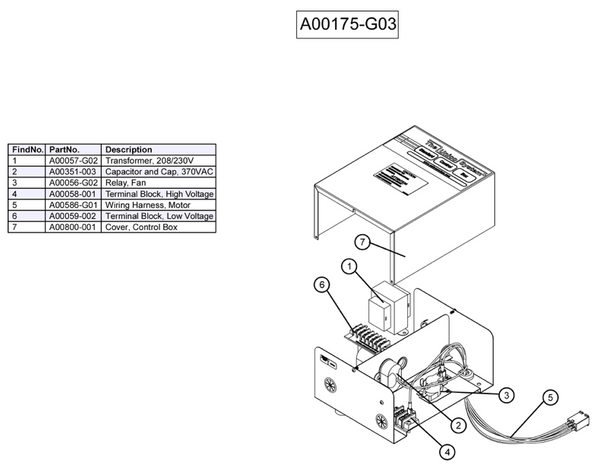 A00175-G03 - Unico Control Box Assembly, (ST2 models)