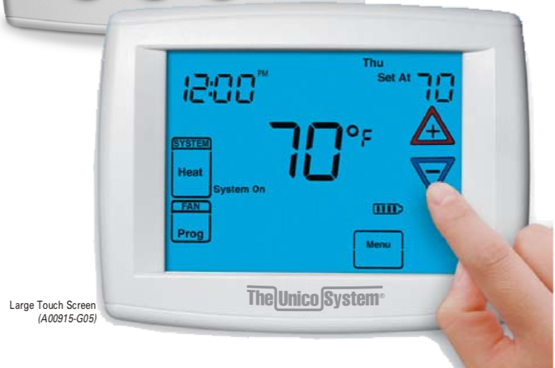 A00915-G05 - Unico Thermostat, Universal, Multi-Stage, Touch-Screen,  3-Heat/2-Cool jpg