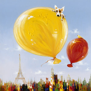 Dog on Balloons Canvas
