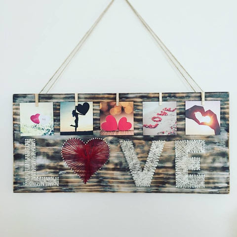 Love Nail and Thread Photo Board
