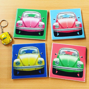 Handmade Tile Coasters Beetle Car
