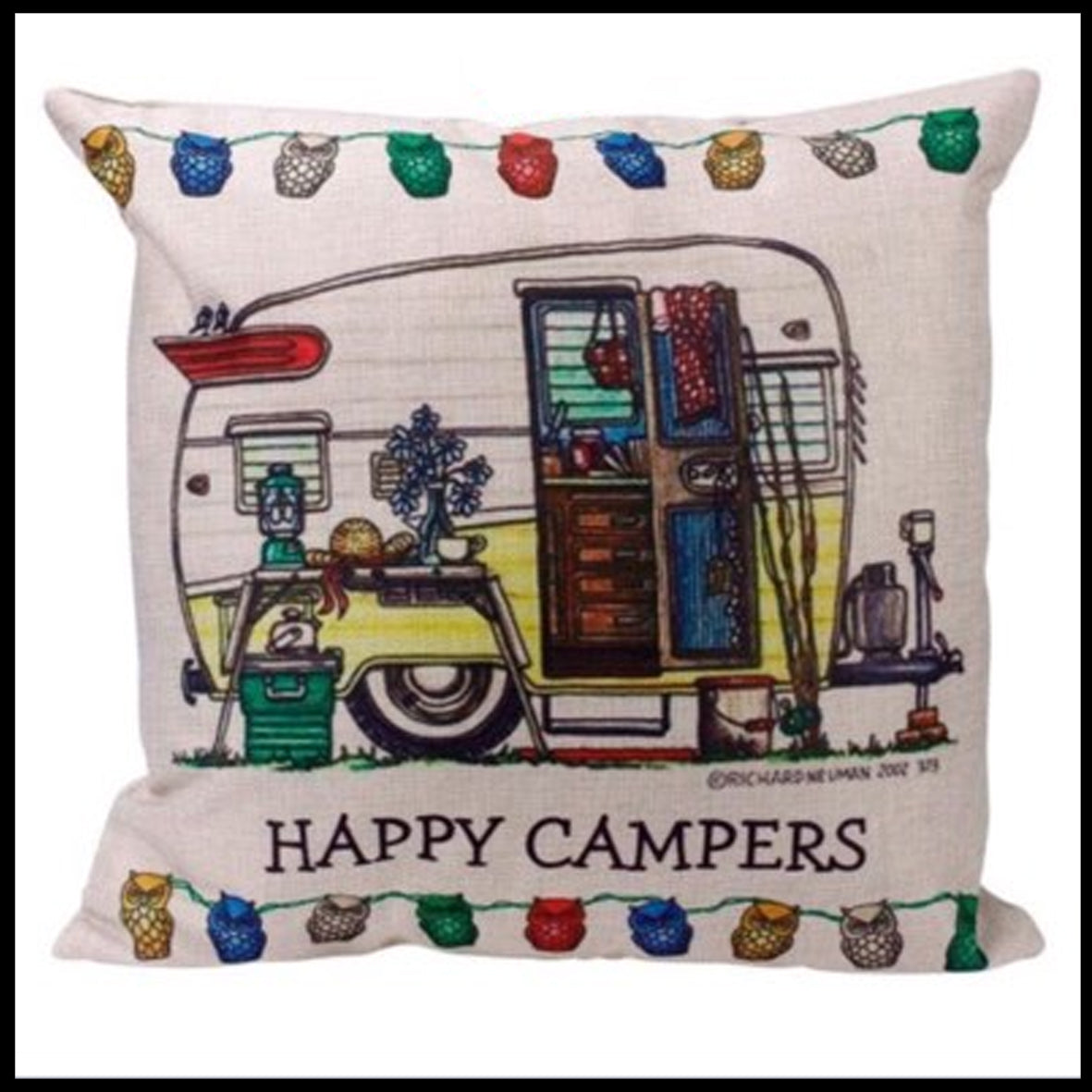 Happy Campers Yellow Cushion Pre-order