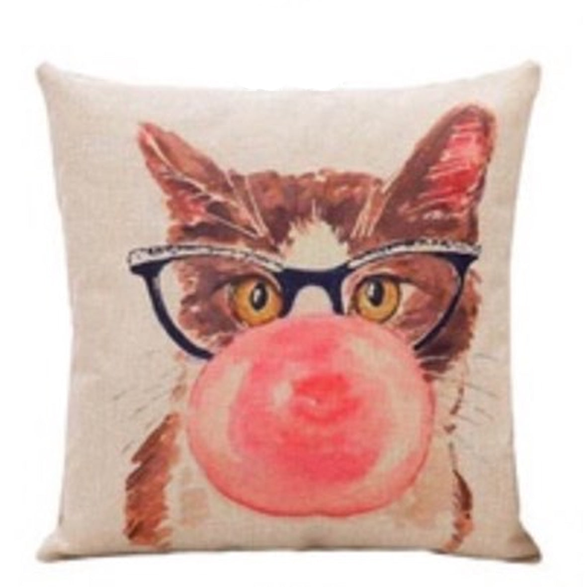 Cat Blowing Bubbles Cushion