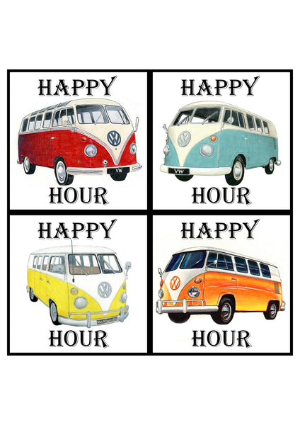 Handmade Combi Happy Hour Tile Coasters