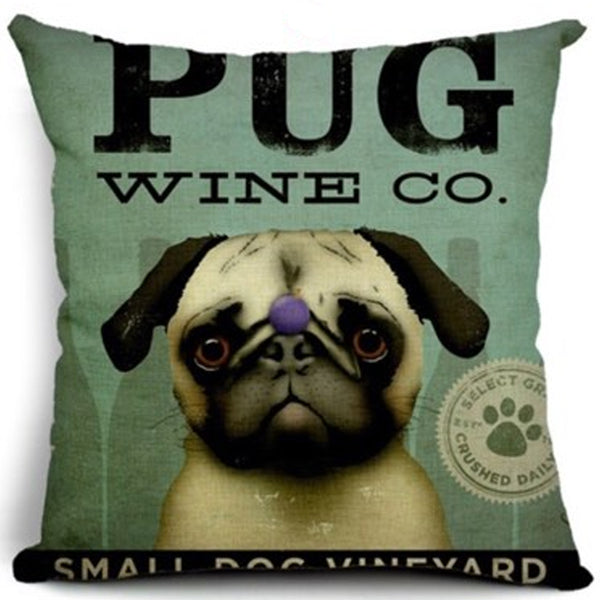 Pug Wine Co Cushion
