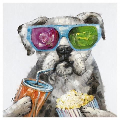 Dog having drink & popcorn canvas